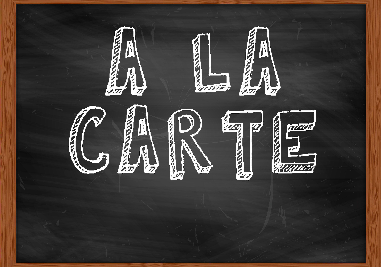 A LA CARTE handwritten chalk text on black chalkboard